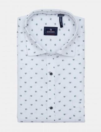 Ginneti slim fit white printed shirt