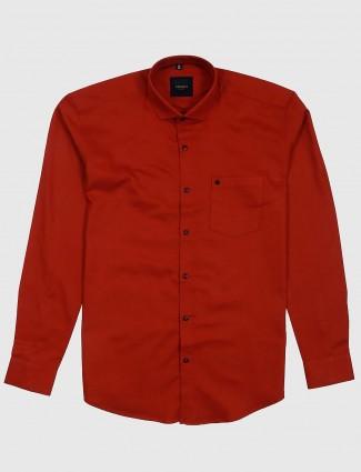 Ginneti solid rust orange casual shirt