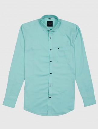 Ginneti solid sea green slim collar shirt