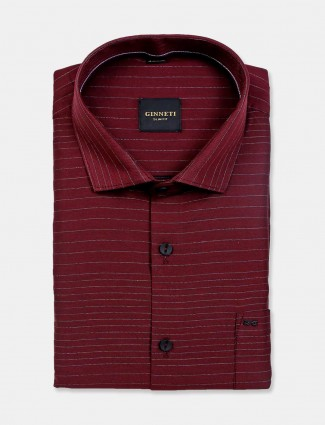 Ginneti stripe cotton maroon shirt