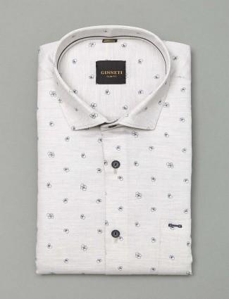 Ginneti white printed mens cotton shirt