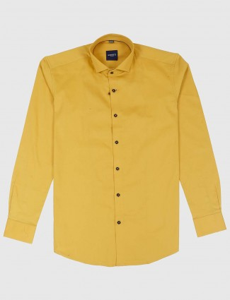 Ginneti yellow color solid casual shirt