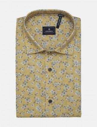 Ginneti yellow printed casual cotton shirt