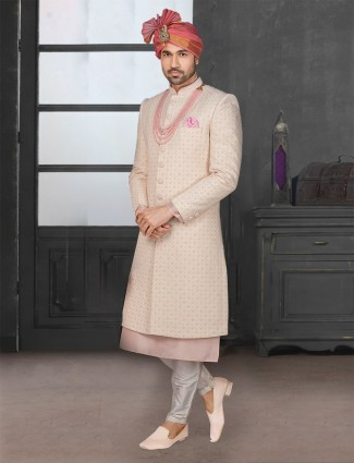 Glamourous beige silk sherwani set