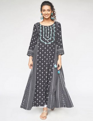 Global Desi black printed kurti for day to day look in georgette