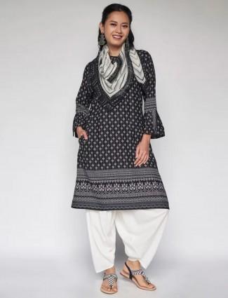 Global Desi Casual wear hue kurti in printed beautiful black