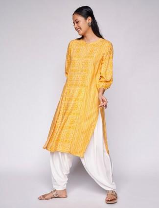 Global Desi Casual wear printed kurti in yellow hue
