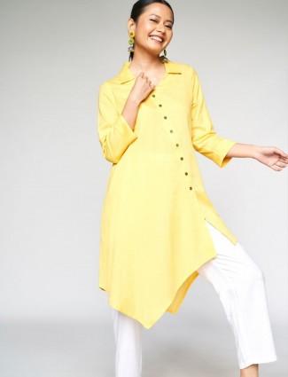 Global Desi corn yellow  solid cotton casual wear kurti