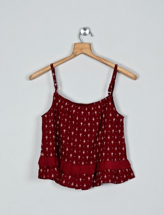 Global Desi maroon printed cotton top for girls