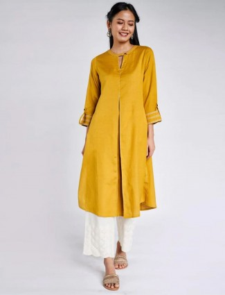 Global Desi mustard solid style kurti for causal look