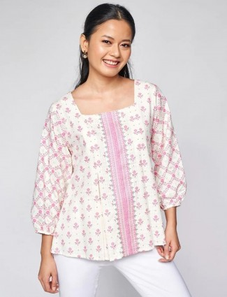 Global Desi off white hue printed top for casual style
