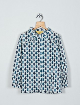 Global Desi off white printed cotton full sleeve top