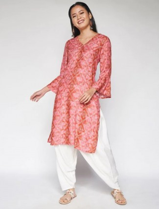 Global Desi printed peach kurti for day to day look in georgette