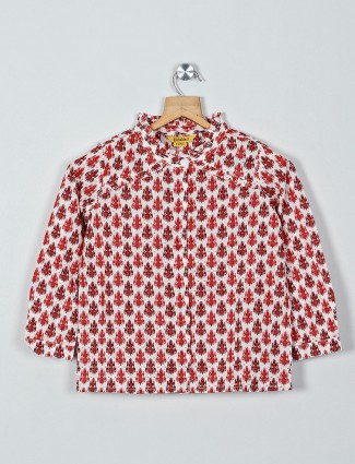 Global Desi printed red cotton top with full sleeves
