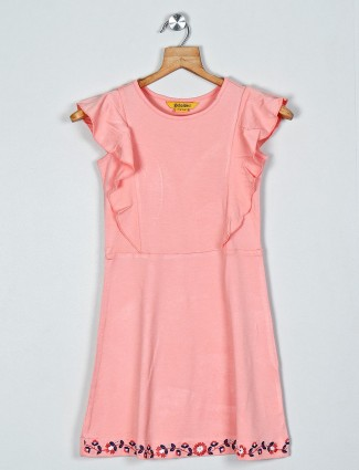 Global Desi solid pink dress for girls in cotton