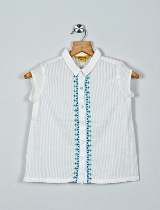 Global Desi solid white cotton girls casual top