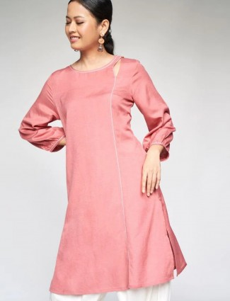 Global Desi Stuning pink georgette casual occasions solid kurti