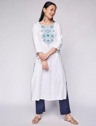 Global Desi Stuning white cotton casual occasions kurti
