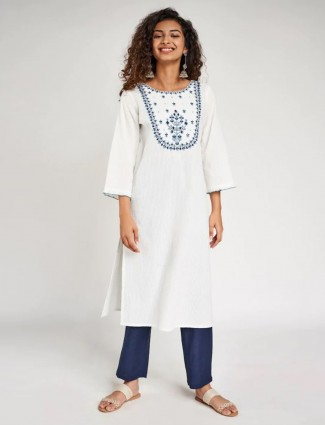 Global Desi white solid casual wear cotton kurti