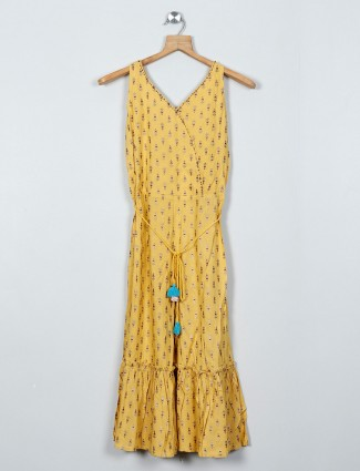 Global Desi yellow cotton girl's dress with printed pattern