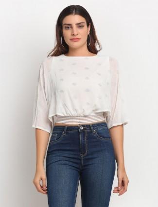 Global Republic cream casual wear georgette western top