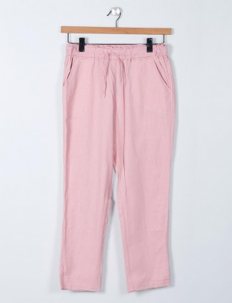 Global Republic solid pink casual wear pant