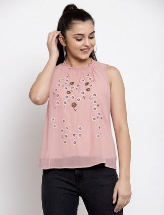 Global Republic western wear pink cotton top for women