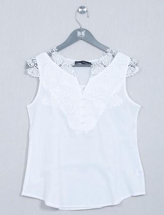 Global Republic white western wear top in cotton