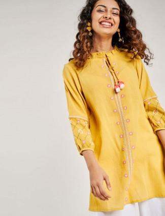 Globaldesi Mustard Solid Embroidered Tunic