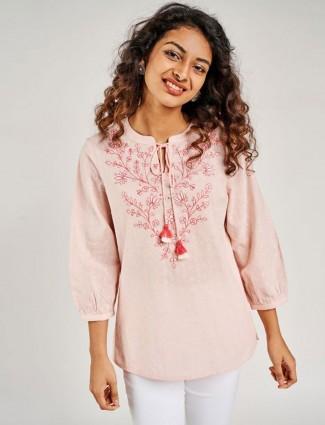 Globaldesi Pink Self Design Embroidered Tie up Top
