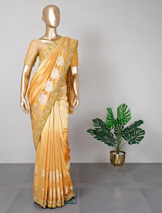 Gold silk saree for women