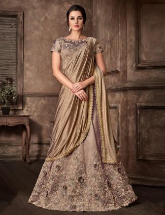 Golden lycra and raw silk designer lehenga cum saree for wedding