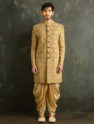 Golden tint wedding wear dhoti suit indowestern for mens