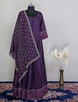 Gorgeous anarkali purple silk anarkali suit