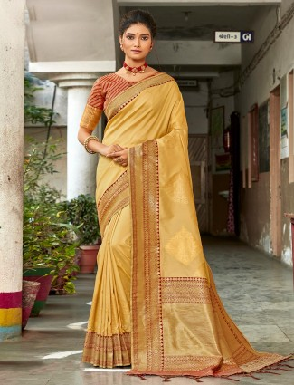 Gorgeous beige semi silk saree for best wedding look