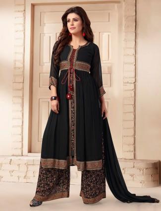 Gorgeous black georgette printed punjabi palazzo suit