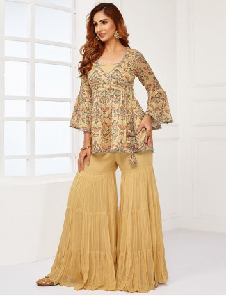 Gorgeous blonde yellow georgette sharara suit