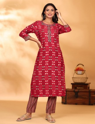 Gorgeous cotton casual ruby red pant suit