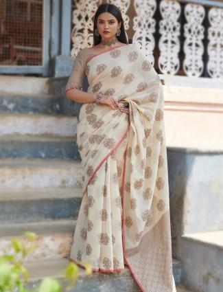 Gorgeous cream festive wear handloom cotton saree for women