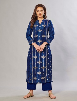 Gorgeous festive events ink blue palazzo set in silk