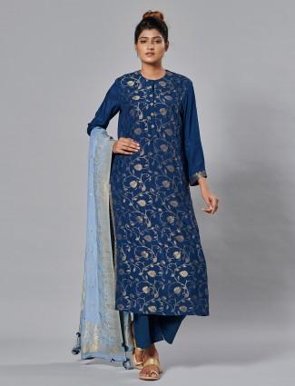 Gorgeous festive wear navy palazzo set in cotton silk