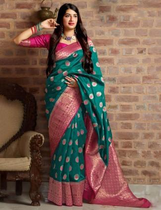 Gorgeous green banarasi silk wedding saree