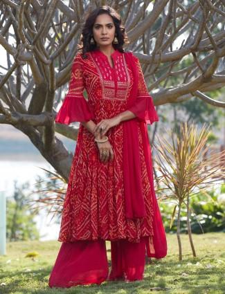 Gorgeous magenta georgette punjabi style wedding wear sharara suit