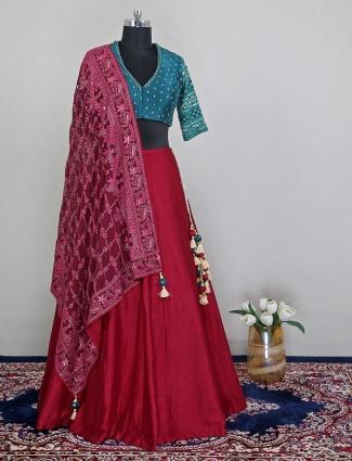 Gorgeous maroon raw silk wedding wear lehenga choli