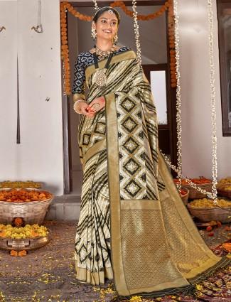 Gorgeous off white banarasi silk wedding saree