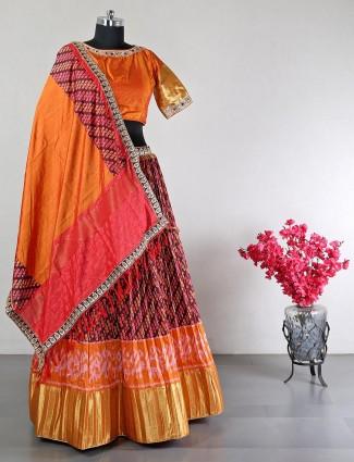 Gorgeous orange raw silk wedding lehenga choli