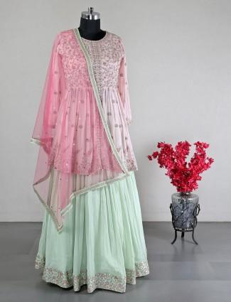 Gorgeous pink georgette lehenga choli for wedding