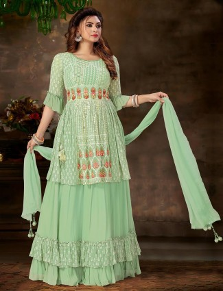 Gorgeous pista green georgette lehenga style suit