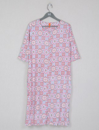 Gorgeous printed pink casual wear kurti in cotton