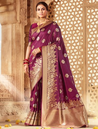 Gorgeous purple wedding events saree in banarasi silk
